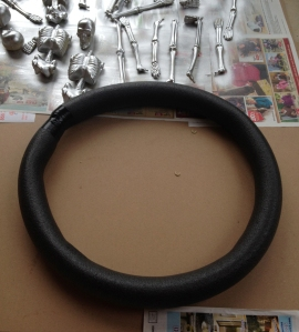 pipe insulation for DIY skeleton wreath